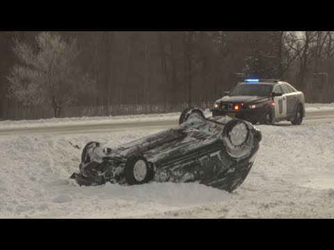 Icy Roads, Blowing Snow & Numerous Accidents in Stearns County, MN 1/18/2020