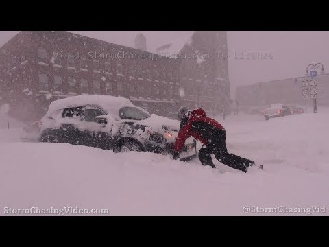 Blizzard with lots of vehicles stuck in deep snow in Watertown, NY – 2/28/2020