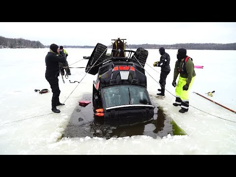 Recovery of Side By Side ATV that fell through thin ice. Ann Lake, MN