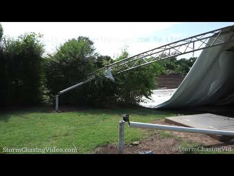 Pavilion destroyed, storm damage, Norman, OK 7/12/2020
