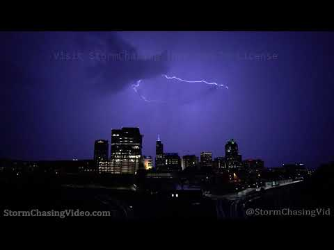 Slow Motion Lightning over Raleigh, NC Skyline – 7/28/2020