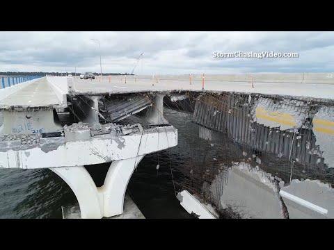 Drone Footage Of Catastrophic Damage To The Three Mile Bridge – 9/17/2020