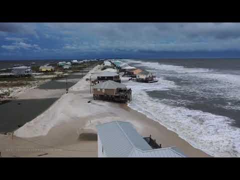 09-14-2020 Dauphin Island, AL – Vehicles Stuck Hurricane Sally Drone