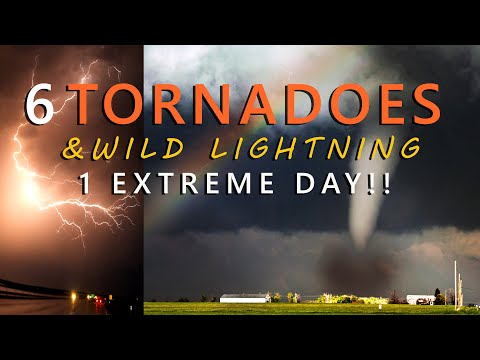 Six TORNADOES and Extreme Lightning in Texas FULL CHASE Footage!