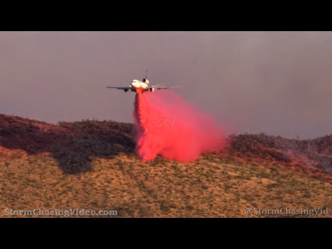 Superior, AZ Wildfires Air Tanker Drops and Fire On The Mountains – 6/5/2021