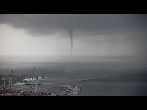 Tornadic Waterspout Comes On Shore, Port of Miami, FL – 6/29/2021